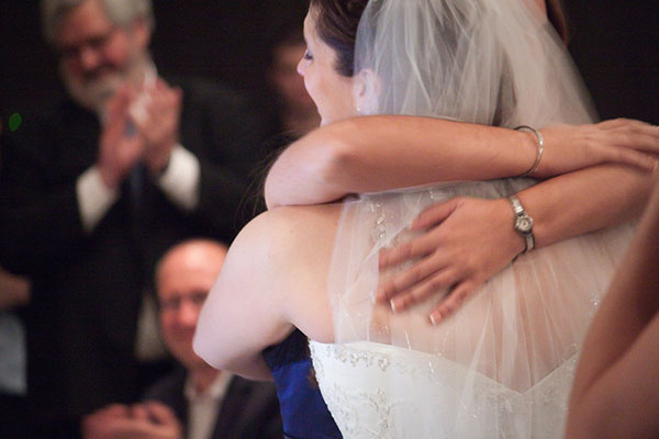 Happy Bride Hugging Her Mother