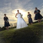 bridal-party-outdoors-sunset